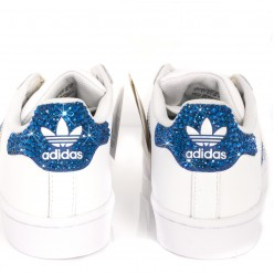 Scarpe Adidas Super Star 3 Stripes Ray Blue con Strass