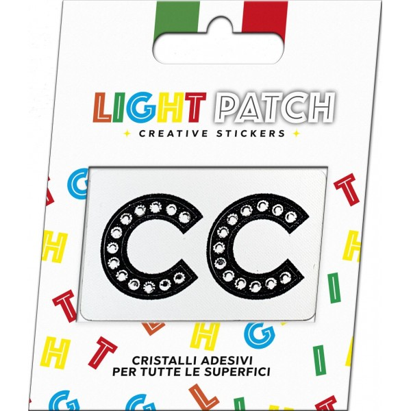 Light Patch Lettere CC Sticker Cristalli Nero Cry