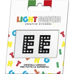 Light Patch Lettere EE Sticker Cristalli Nero Cry