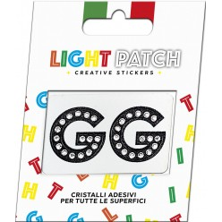 Light Patch Lettere GG Sticker Cristalli Nero Cry