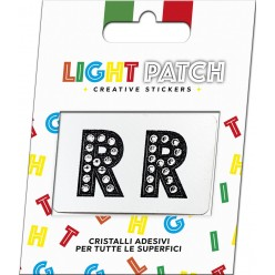 Light Patch Lettere RR Sticker Cristalli Nero Cry