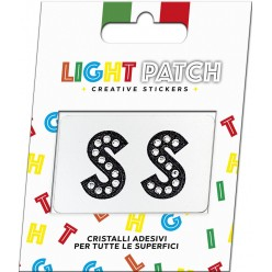 Light Patch Lettere SS Sticker Cristalli Nero Cry