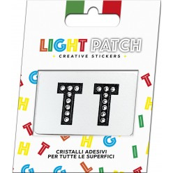 Light Patch Lettere TT Sticker Cristalli Nero Cry
