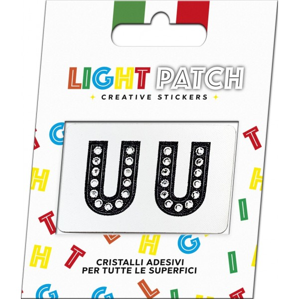Light Patch Lettere UU Sticker Cristalli Nero Cry