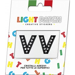 Light Patch Lettere V V Sticker Cristalli Nero Cry