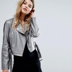 Veste femme clou éco-cuir gris métallisé Meilleur Prix