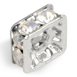 MM STRASS PRECIOSA 8x8 LAVEUSE CARRÉE CRYSTAL-SILVER-PACK 20