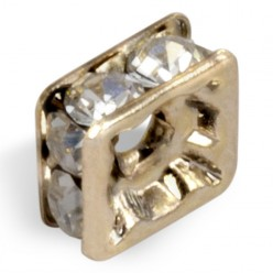 STRASS PRECIOSA LAVEUSE CARRÉE MM8x8 CRYSTAL-GOLD-PACK 20
