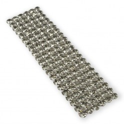 CATENA SU RETE STRASS VIVA 12 SS20(5MM) BLACK DIAMOND-ARGENTO-6 FILE-10CM